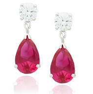 Sterling Silver .925 Clear Cubic Zirconia and Pear Shaped Simulated Ruby Drop Earrings