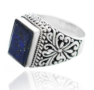 Sterling Silver .925 Rectangular Lapis Filigree Ring