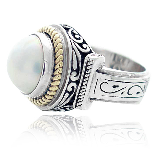 Sterling Silver .925 and Gold Plated Round White Mabe Pearl Carving Ring