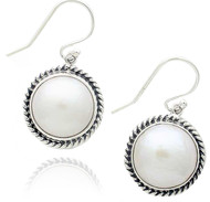 Sterling Silver .925 Round White Mabe Pearl Cable Outline Design Earrings