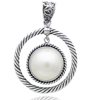 Sterling Silver .925 Round White Mabe Pearl Cable Pendant