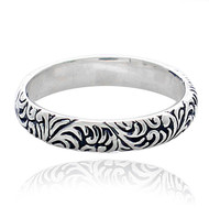 Sterling Silver .925 Textured Filigree Band Ring