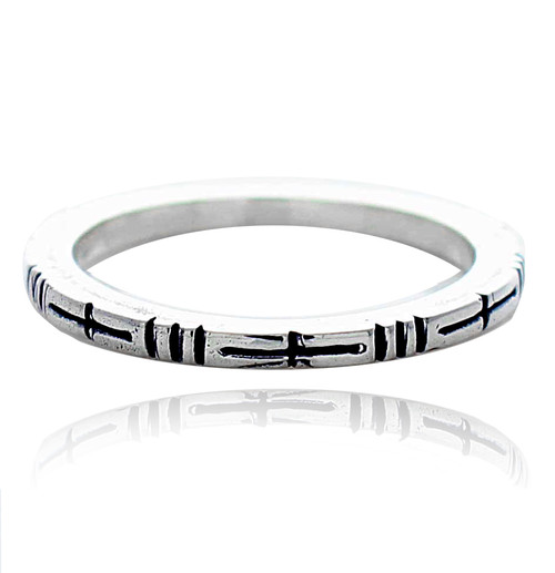 Sterling Silver .925 Linear Textured Band Ring