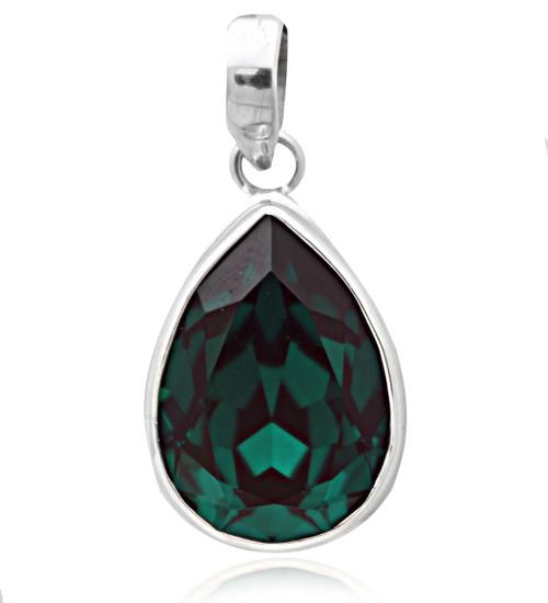 Sterling Silver .925 Pear Emerald Shape Swarovski Element Pendant