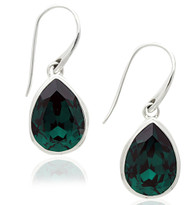 Sterling Silver .925 Emerald Swarovski Element Pear Drop Earrings