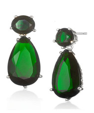 Sterling Silver .925 Drop Emerald Earrings