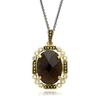 "Tudor Style Gold Plated Brass and Smokey Topaz CZ Oval Pendant on 18"" Black Rhodium Plated Chain"