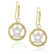 14K Gold Two-Tone Pave CZ Framed Crown Rhodium Plated Brass Dangling Earring