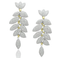 Pave CZ Leaf Drop Two Tone Brass Earrings
