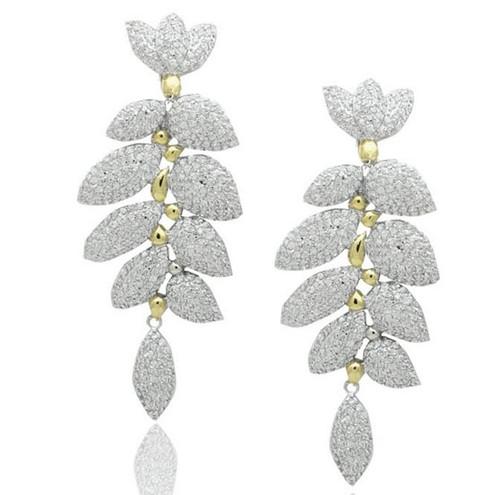 Pave CZ Leaf Drop Two Tone Brass Earrings