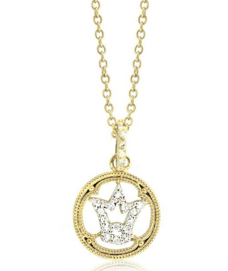"14K Gold Two tone Pave CZ Tiara Crown Plated Brass Pendant Necklace on 16"" - 18"" chain"