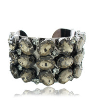 OVAL BLACK CRYSTAL STUDDED CUFF