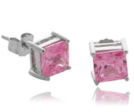 6MM Prong Pink Square Set CZ Stud Earrings