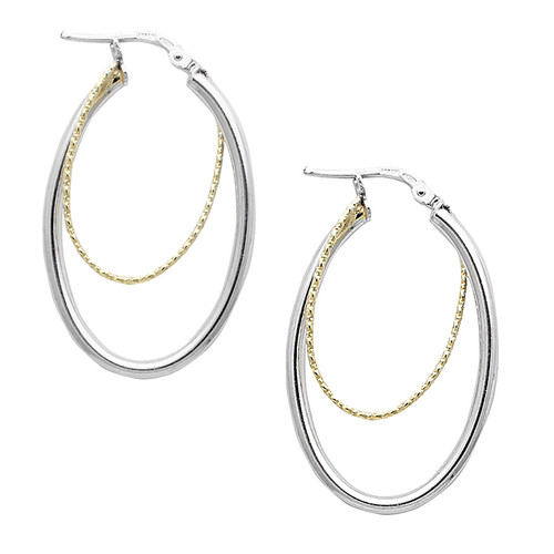 Gold Plated Twist Oval Hoops