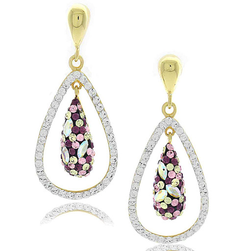 Swarovski Element Crystal Pear Drop Pave Earrings