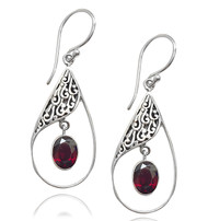 Sterling Silver .925 Pear Garnet Drop Earrings