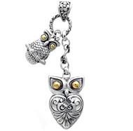 Sterling Silver Bali Double Owl Pendant