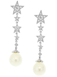 Sterling Silver 925 Falling Start and Pearl Pave Drop Earrings