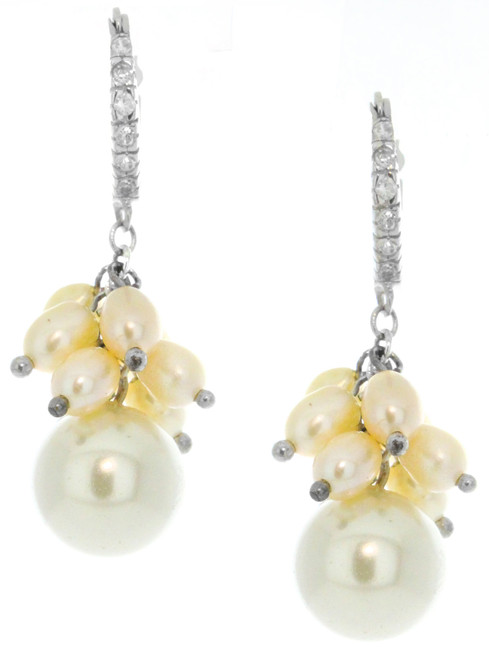 Sterling Silver 925 Huggy Fresh Pink Cluster Pearls CZ Drop Earrings