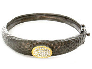 Hammered Design Brass Abstract with CZ Bangle Bracelet