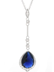 Sterling Silver Blue Sapphire Teardrop CZ Pave Lariat Necklace