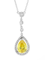 Sterling Silver 925 Pave Teardrop Yellow CZ Necklace