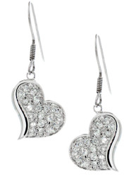 Sterling Silver CZ Pave Heart Dangling Earrings