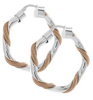 Sterling Silver Twist Rose Gold Hoop Earrings
