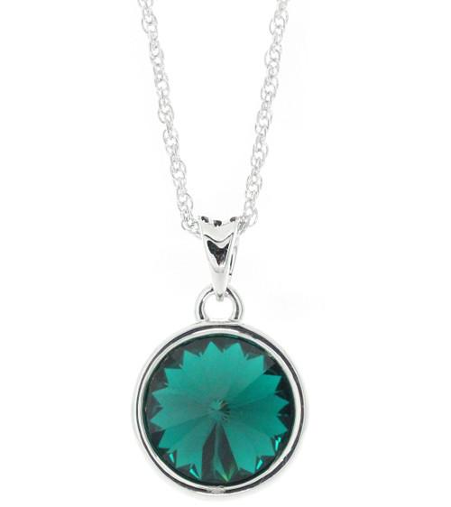 Swarovski Element 13 mm Round Emerald Necklace