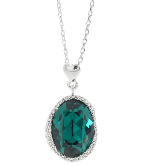 Swarovski Element Halo Pave Emerald Necklace