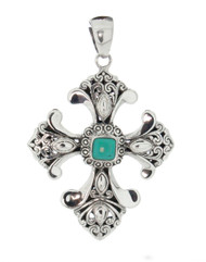 Sterling Silver 925 Filigree Turquoise Cross Pendant