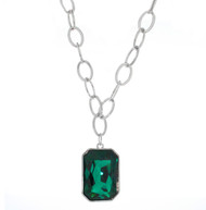 Rectangle Swarovski Element Emerald Necklace