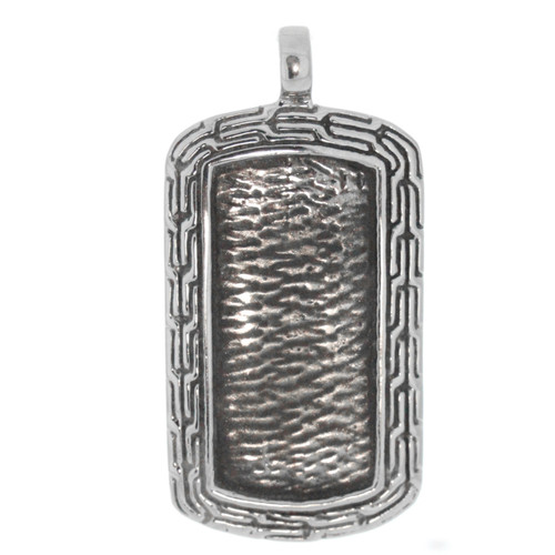 Artune Online Jewelry Sterling Silver 925 Textured  Dog Tag Pendant
