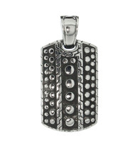 Stainless Steel Textured Dog Tag Pendant