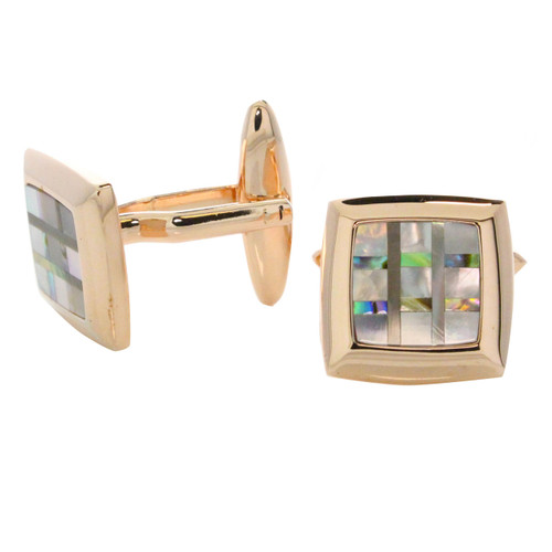 Rose Gold Tone Shell Inlay Square Cuff Links