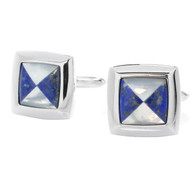 Silver Tone Lapiz Square Cuff Links