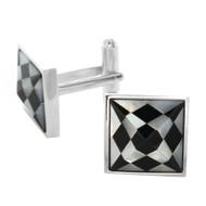 Silver Tone Shell Checkered Pyramid Cut Cuff Links