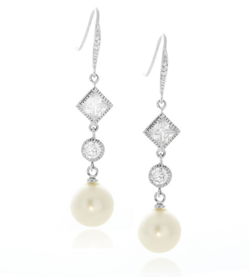 Artune Online Jewelry Sterling Silver 925 Fresh water pearl wedding earrings