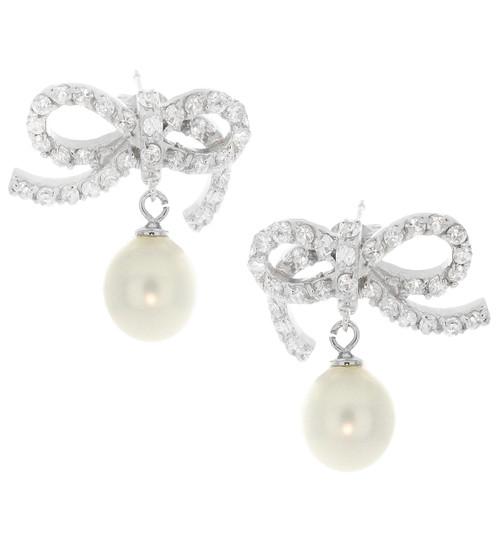 Artune Online Jewelry Sterling Silver Pearl CZ Bow Stud Earrings