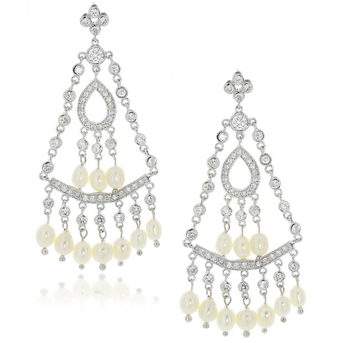 Sterling silver 925 fresh water pearl and cz chandelier earrings aloadofball Images