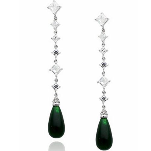 Luxury Emerald CZ Drop Earrings