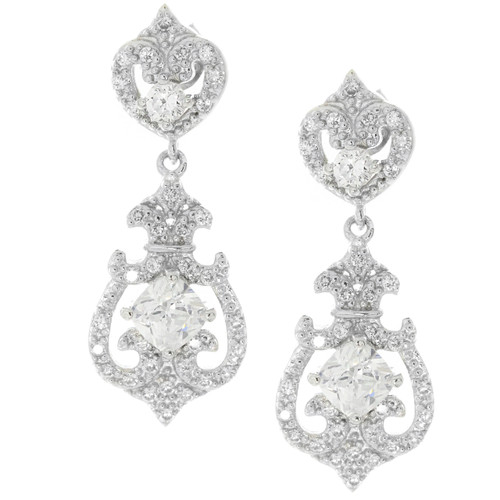 Sterling Silver Art Deco Drop Luxury Bridal Earrings