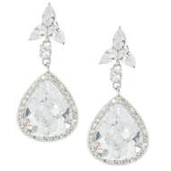 Rhodium Plated Drop Pear Design Luxury Bridal Earrings