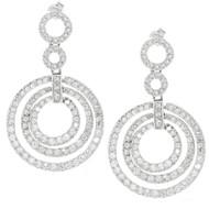 CZ Sterling Silver Triple Round Drop Earrings