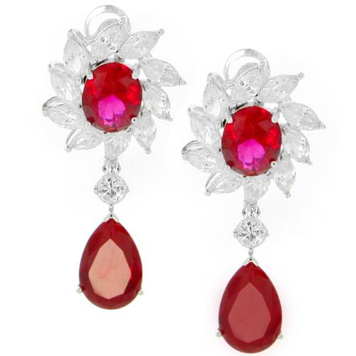 Flower Clear CZs Enhancing Ruby CZ Drop Earrings