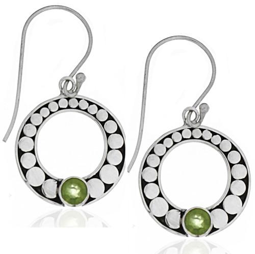 Sterling Silver .925 Round Bali Peridot Drop Earrings