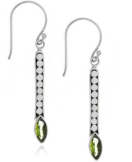 Sterling Silver .925 Dotted  Bali Peridot Drop Earrings