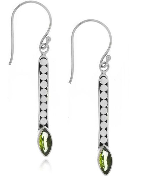 Sterling Silver .925 Dotted  Bali Peridot Drop Earrings