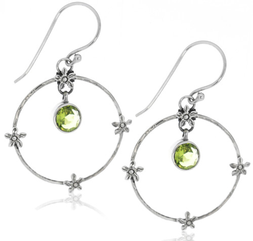 Sterling Silver .925 Flower Hoop Peridot Drop Earrings