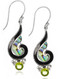 Sterling Silver .925 Swirl Shell Peridot Drop Earrings